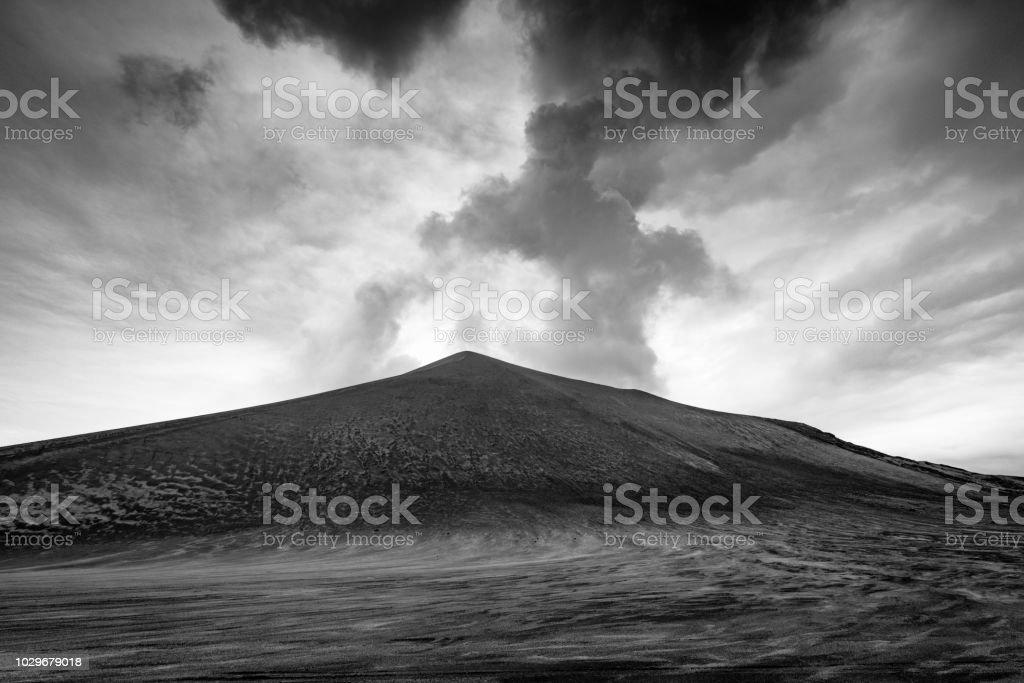 Mount Yasur Volcano Tanna Island Vanuatu Black and Wihte stock photo