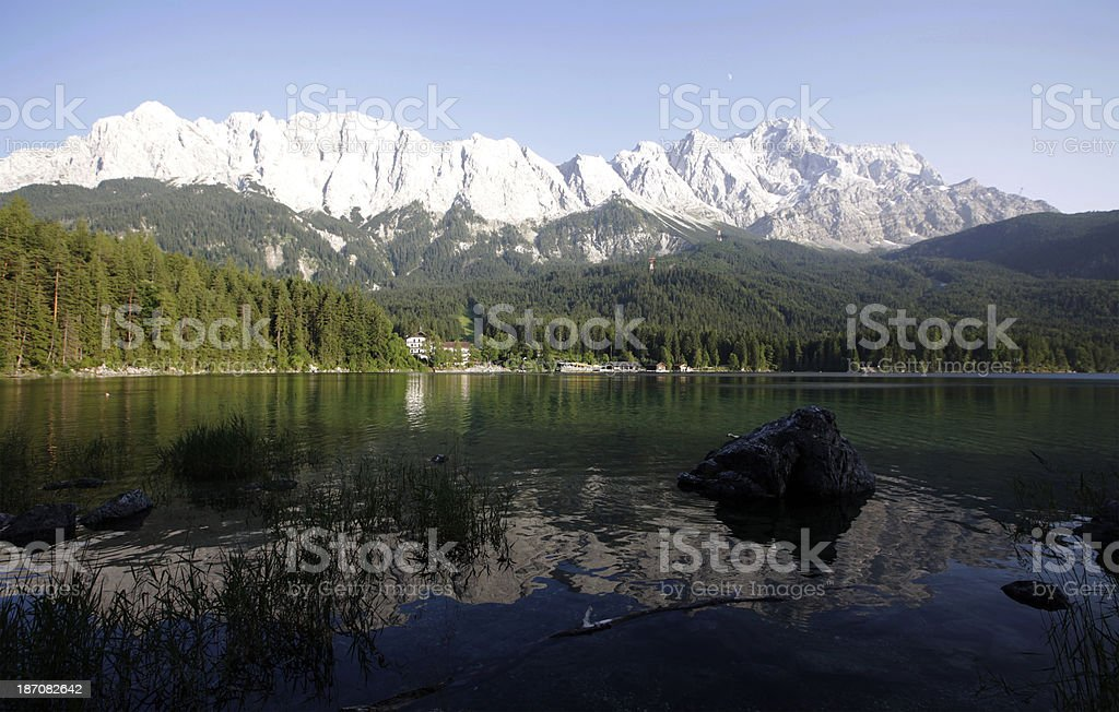 Mount Zugspitz refelcted in Lake Eibsee, Germany royalty-free stock photo