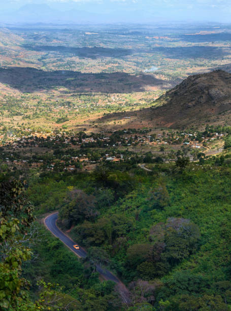 Mountain aerial view of landscape and forestry in Zomba in Malawi stock photo