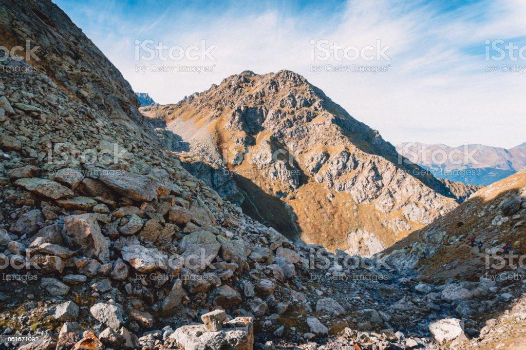 Mountain alpine landscape, High rocky peaks in Canada. stock photo