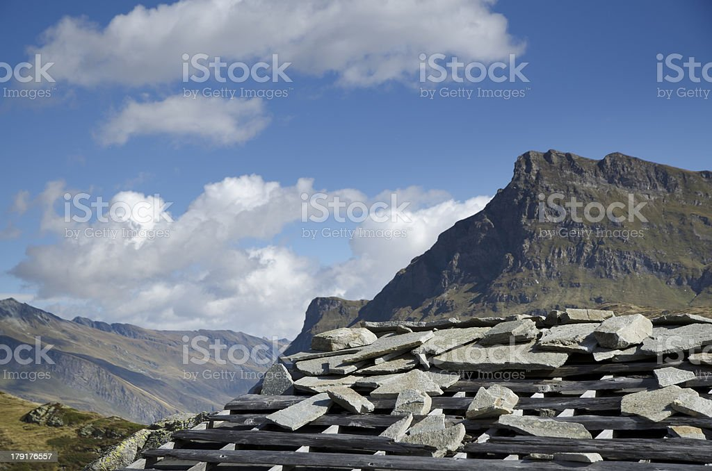 Mountain and a rustic shack royalty-free stock photo