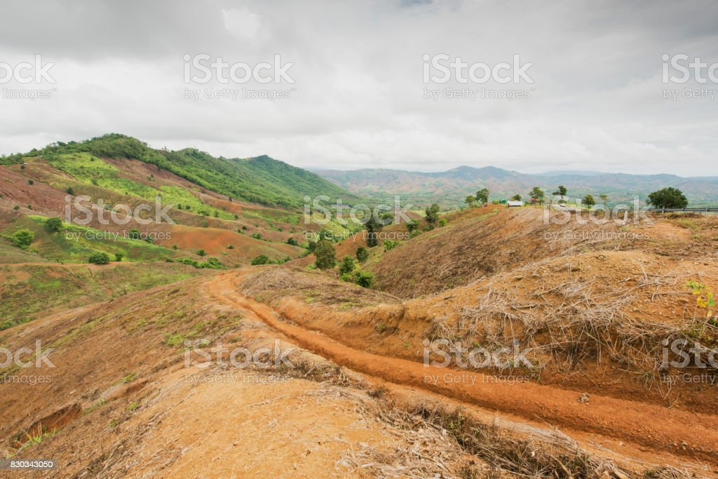 Mountain and Bare land landscape plantation royalty-free stock photo