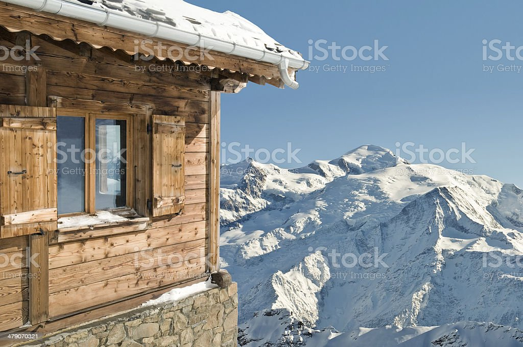 mountain and cottage stock photo