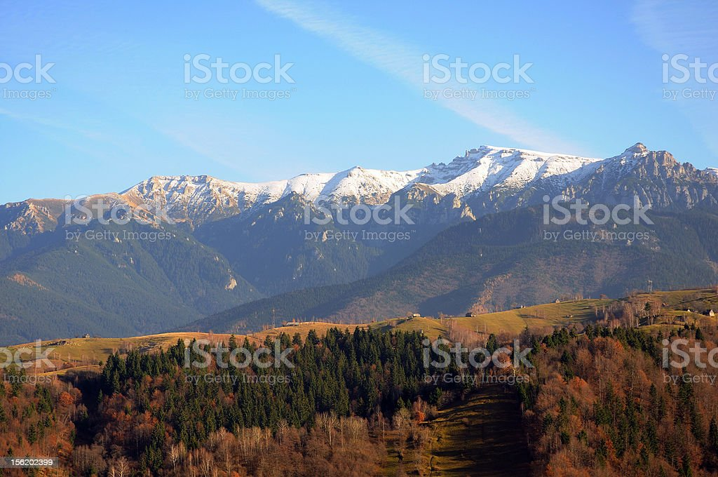 Mountain and forest fall landscape at sunset royalty-free stock photo