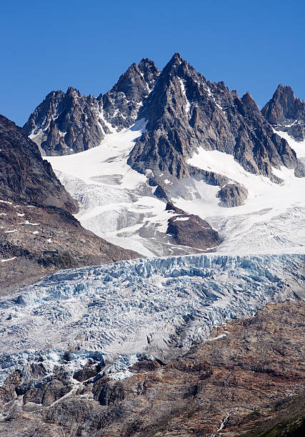 mountain and glacier in the french alps stock photo