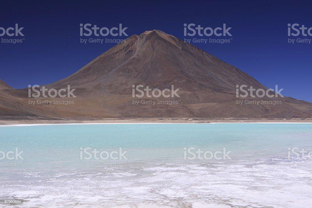 Mountain and Laguna Verde in Altiplano,Bolivia royalty-free stock photo