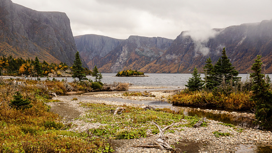 Mountain and Lake landscapes at the Western Brook Pond in Gros Morne National Park in Newfoundland, Canada.