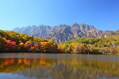 Mt. Togakushi and pond in autumn, Nagano, Japan