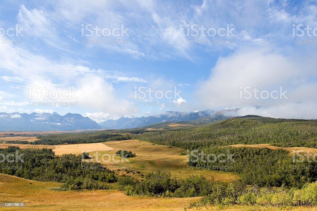 Mountain and Rangeland Panoramic in Alberta foothills royalty-free stock photo