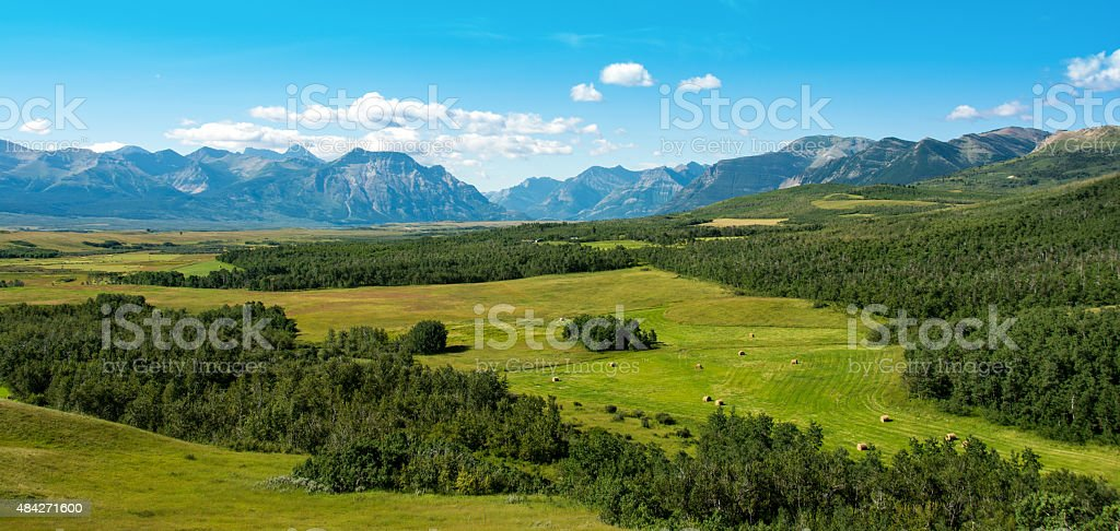 Mountain and Rangeland Panoramic of Southern Alberta with National Parks stock photo
