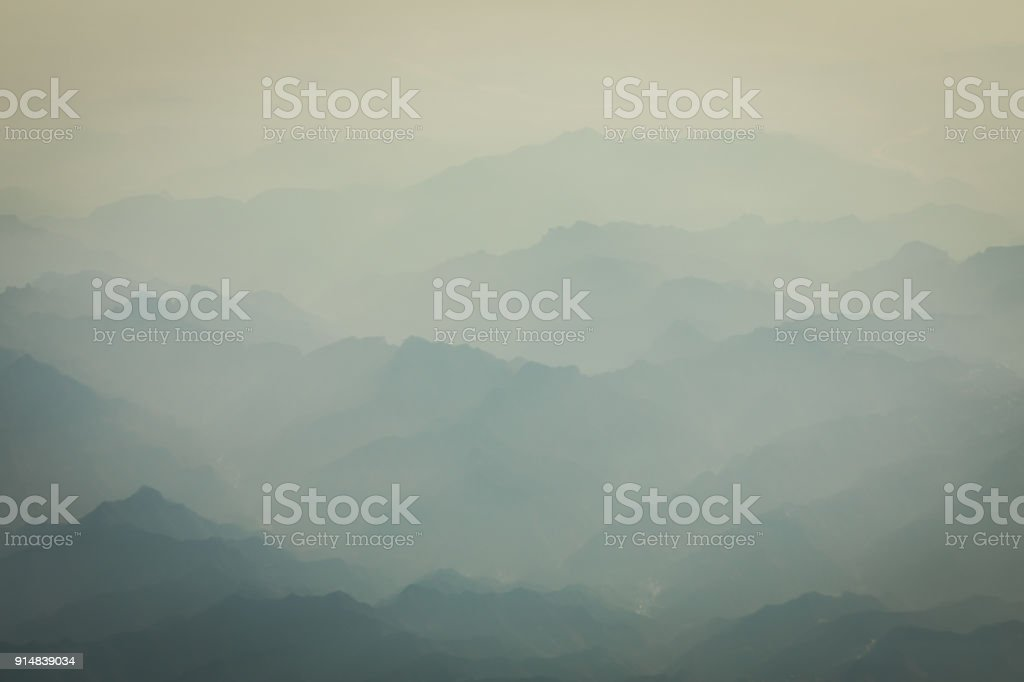 mountain and sea of clouds stock photo