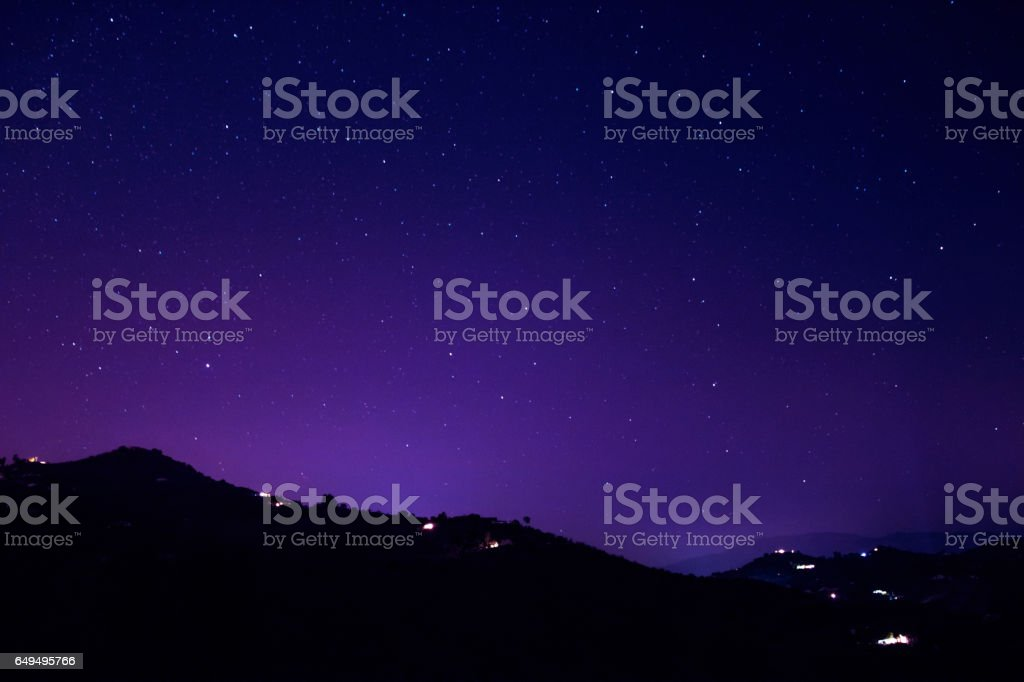 Mountain and stars in Malaga, Spain stock photo