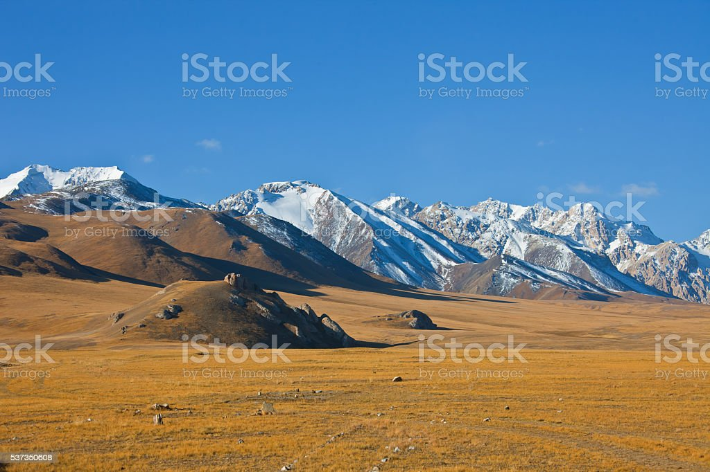 Mountain and steppe pastures in the Tien Shan stock photo