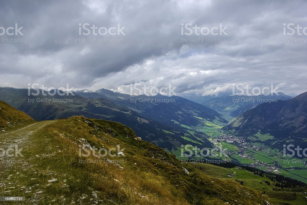 Mountain and valley stock photo