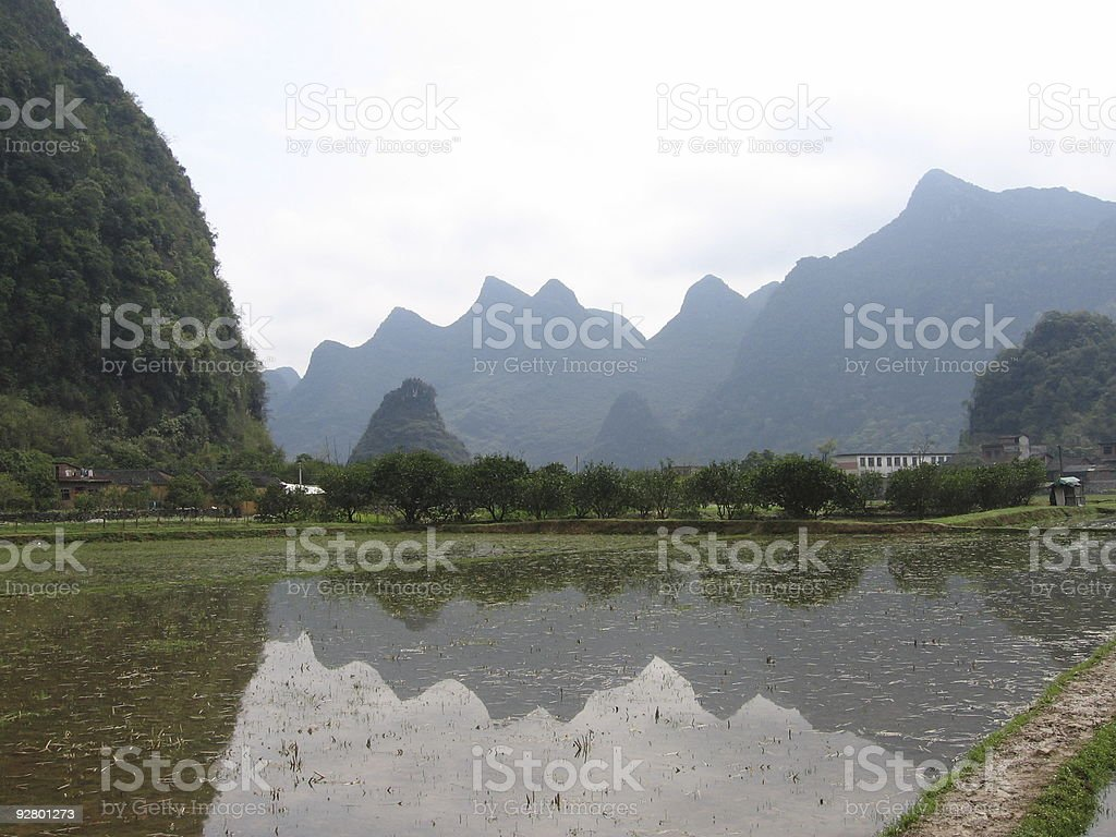 Mountain and Water stock photo