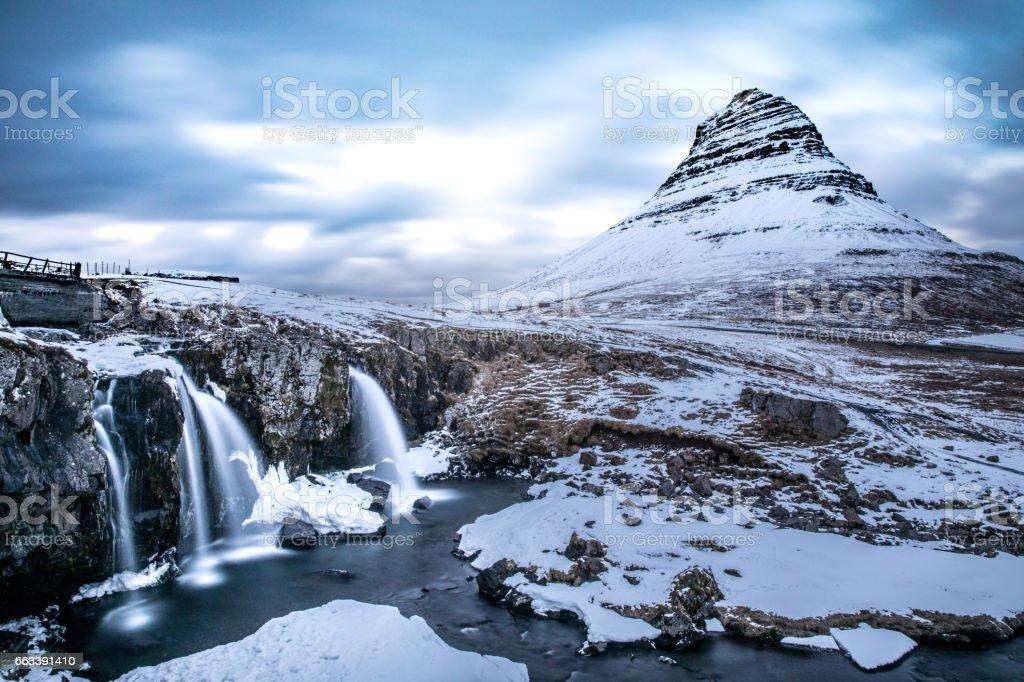Mountain and waterfalls - Mount Kirkjufell Iceland stock photo