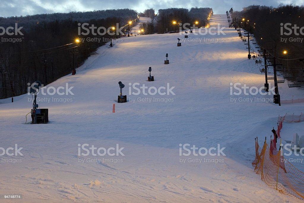 Mountain at a ski resort a night stock photo