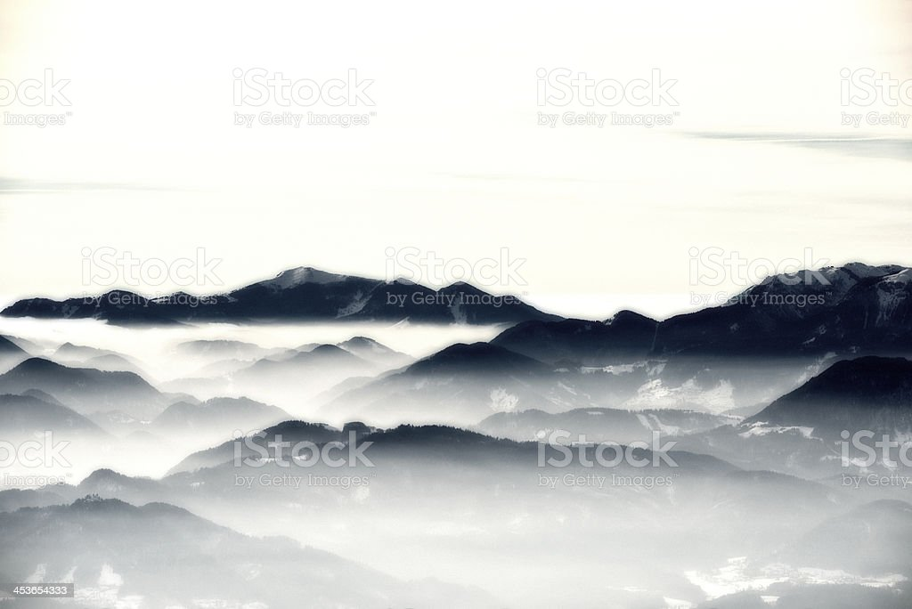 mountain at morning fog stock photo