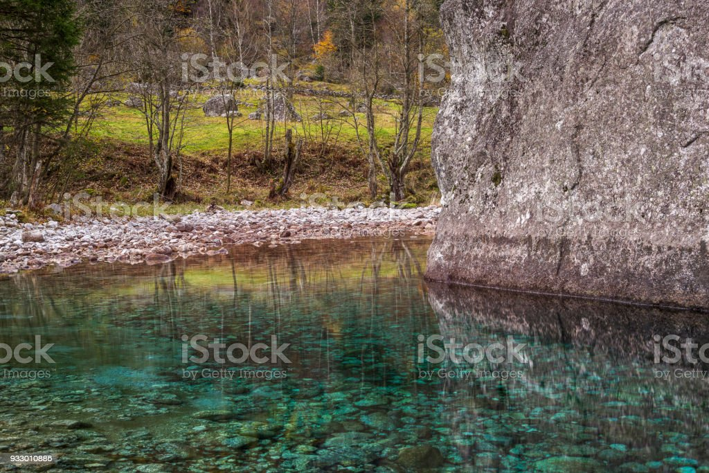 A mountain autumnal colors woodland landscape in Val di Mello stock photo
