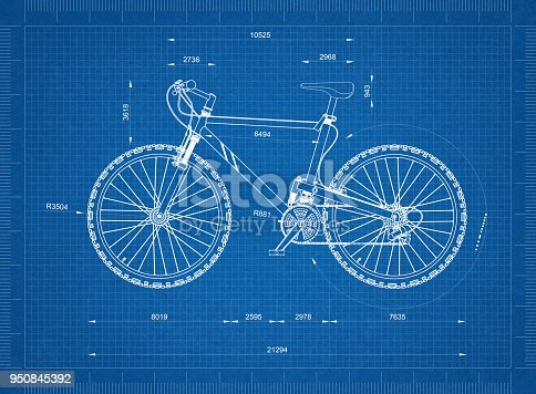 istock Mountain Bicycle blueprint - isolated 950845392