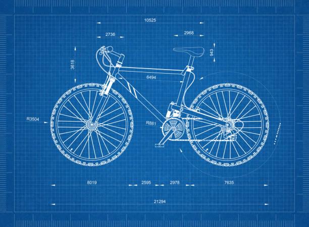 Mountain Bicycle blueprint - isolated stock photo