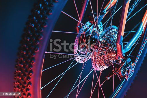 istock mountain bicycle wheel. chain. gearshift. transmission. 1156464115
