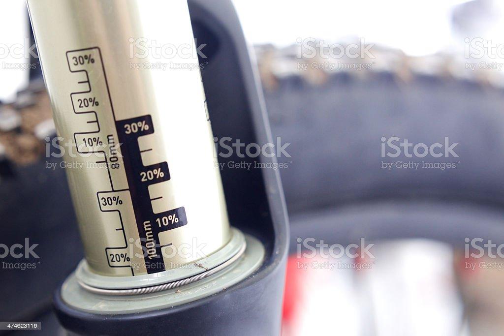 Mountain bike air fork. stock photo