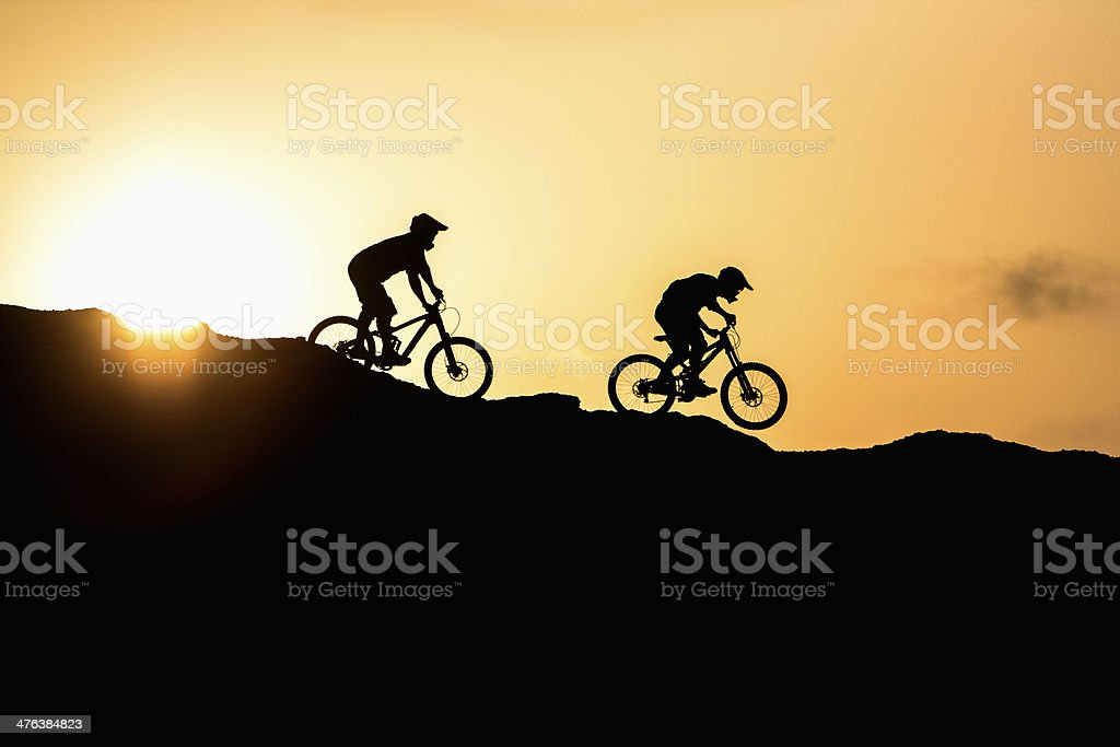 Mountain bike at sunset royalty-free stock photo