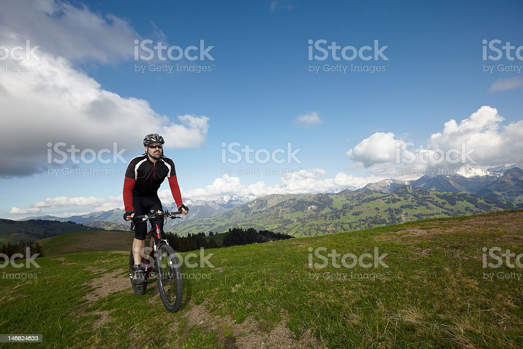 Mountain bike Berner Oberland stock photo