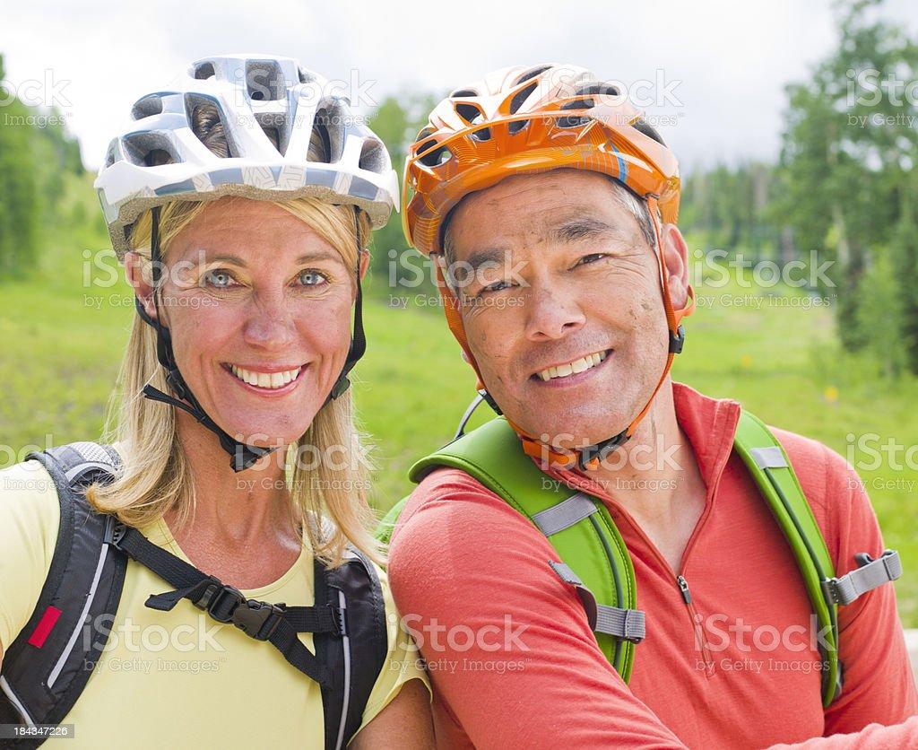 Mountain bike couple royalty-free stock photo