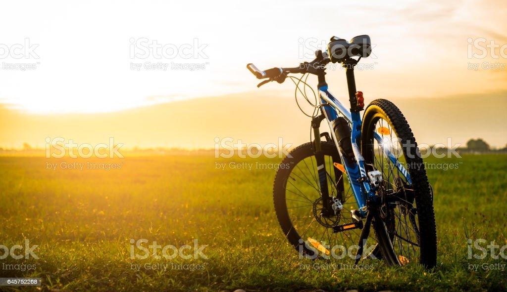 Mountain bike in the morning stock photo
