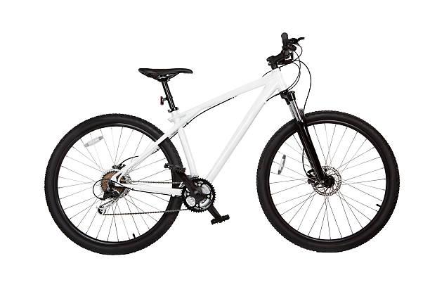 montaña bicicleta aislado en blanco - bastidor de la bicicleta fotografías e imágenes de stock