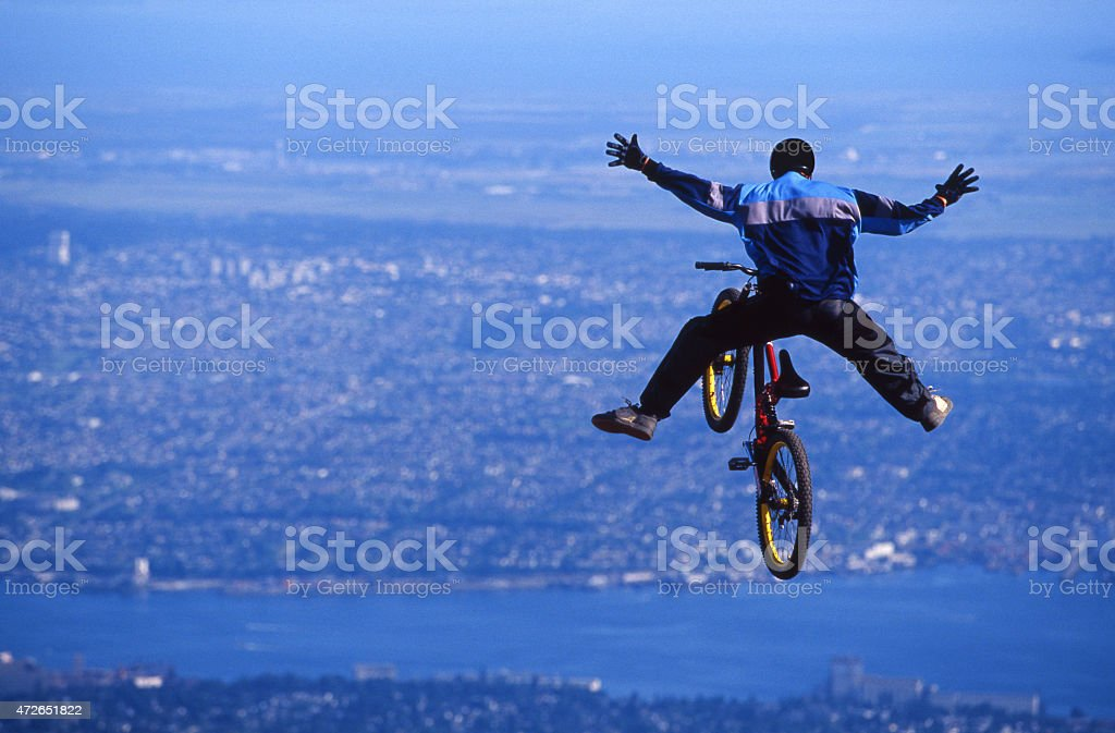 Mountain Bike Jump stock photo