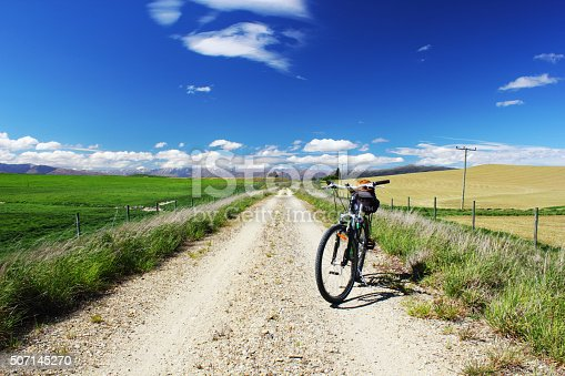 Landscape near Omakau, Meadows and Hills on the Otago Central Rail Trail, New Zealand, rocky Cycling and Hiking Trail