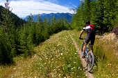 A male mountain biker competes in a race in Fernie, British Columbia, Canada.