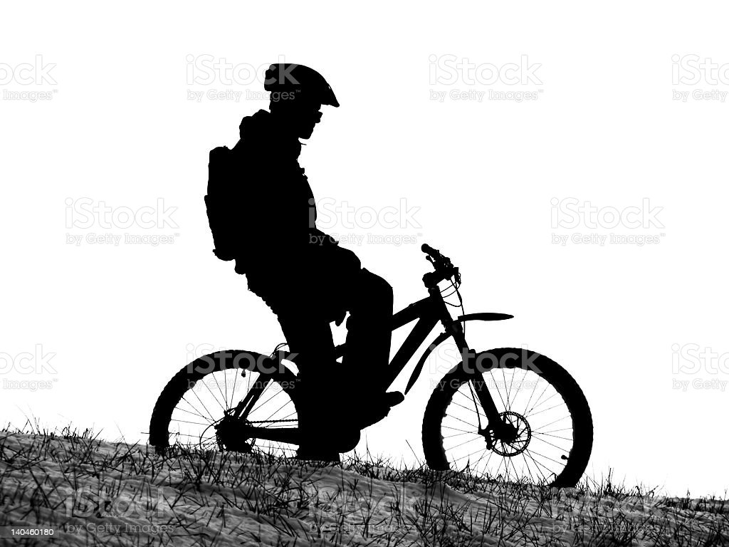 mountain bike racer silhouette royalty-free stock photo