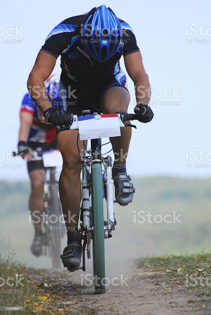 Mountain bike racing royalty-free stock photo