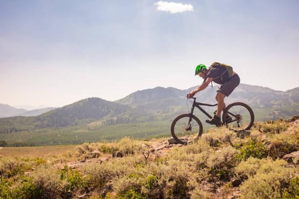 Mountain Bike Ride A high elevation mountain bike ride in Park City, Utah. mountain biking stock pictures, royalty-free photos & images