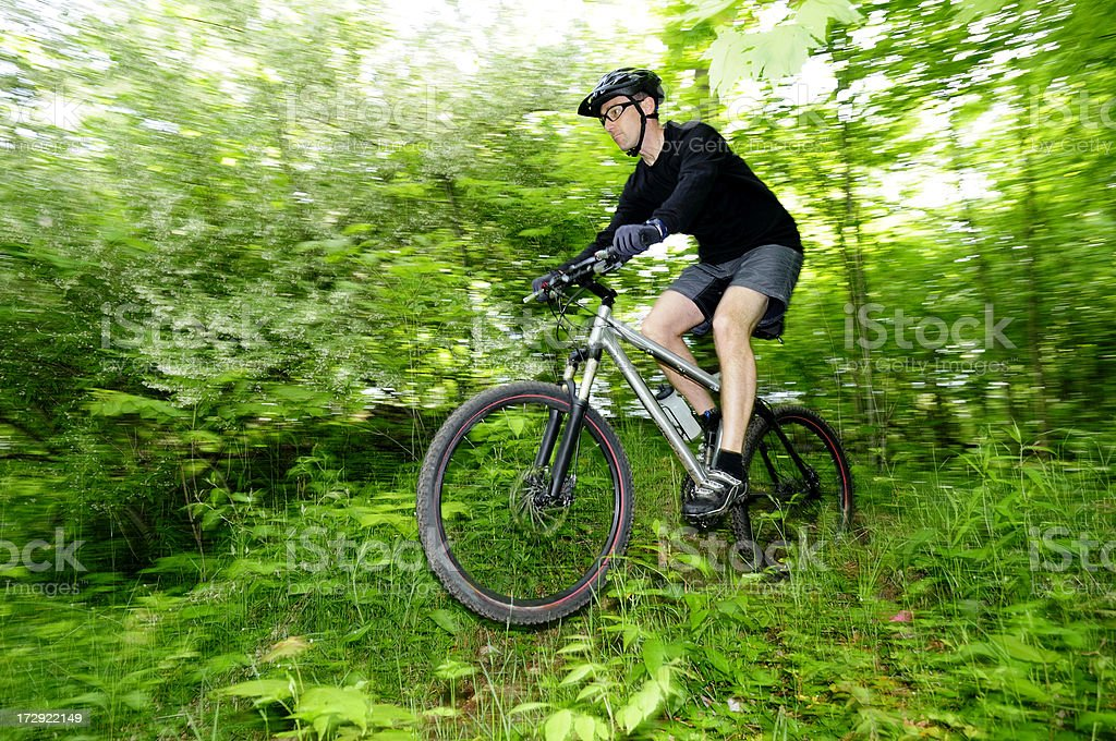 Mountain bike rider on a jump in the woods. royalty-free stock photo