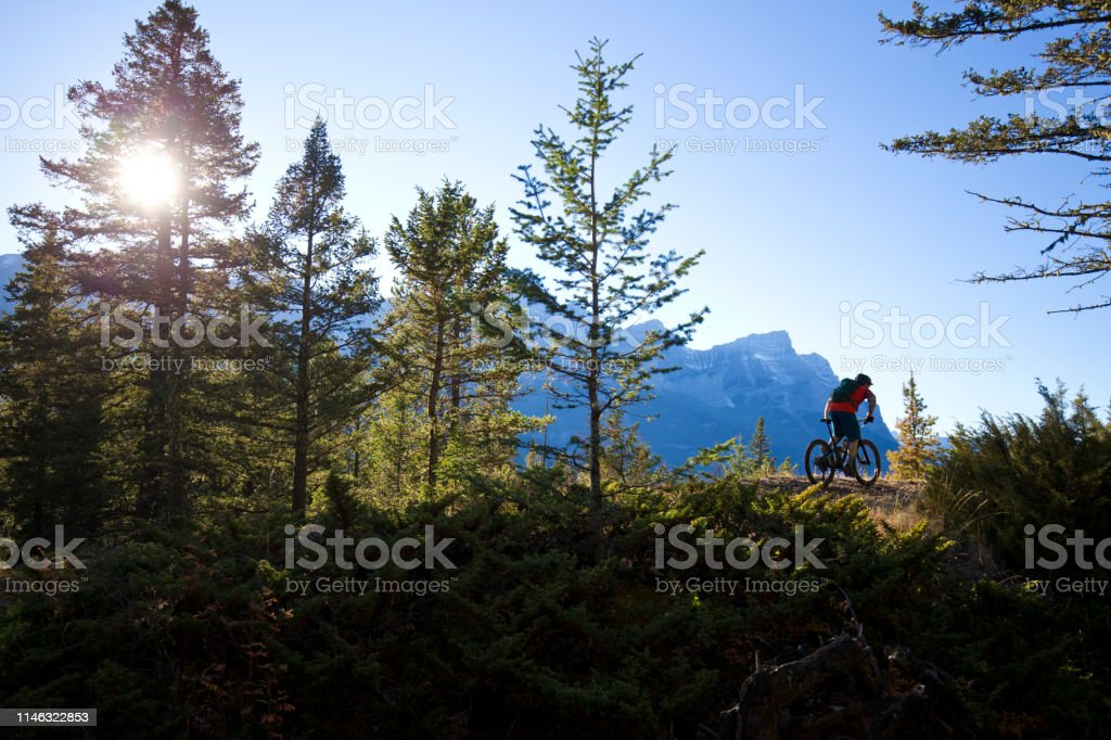 A male mountain biker goes for a cross-country ride in the Rocky...