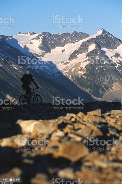 A male mountain biker rides in the Province of British Columbia, Canada.
