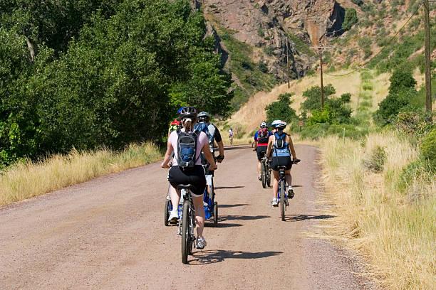 Mountain Bike Riders in Waterton Canyon Colorado stock photo