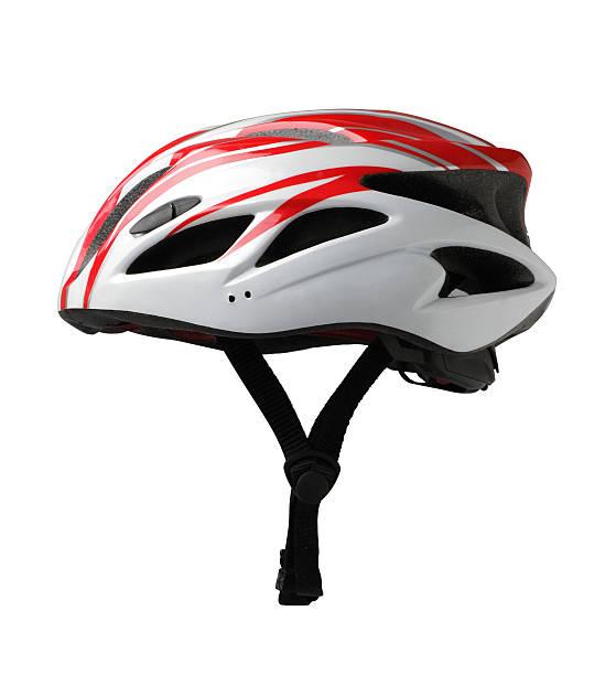 Mountain bike safety helmet isolated on white stock photo