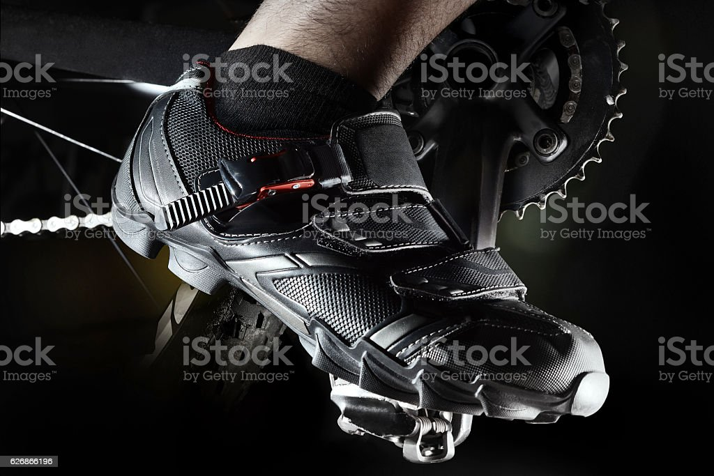 Mountain bike shoes stock photo