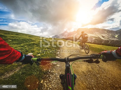 DCIM100GOPROG0039423.Riding a mountain bike on the Alps: point of view camera filming.