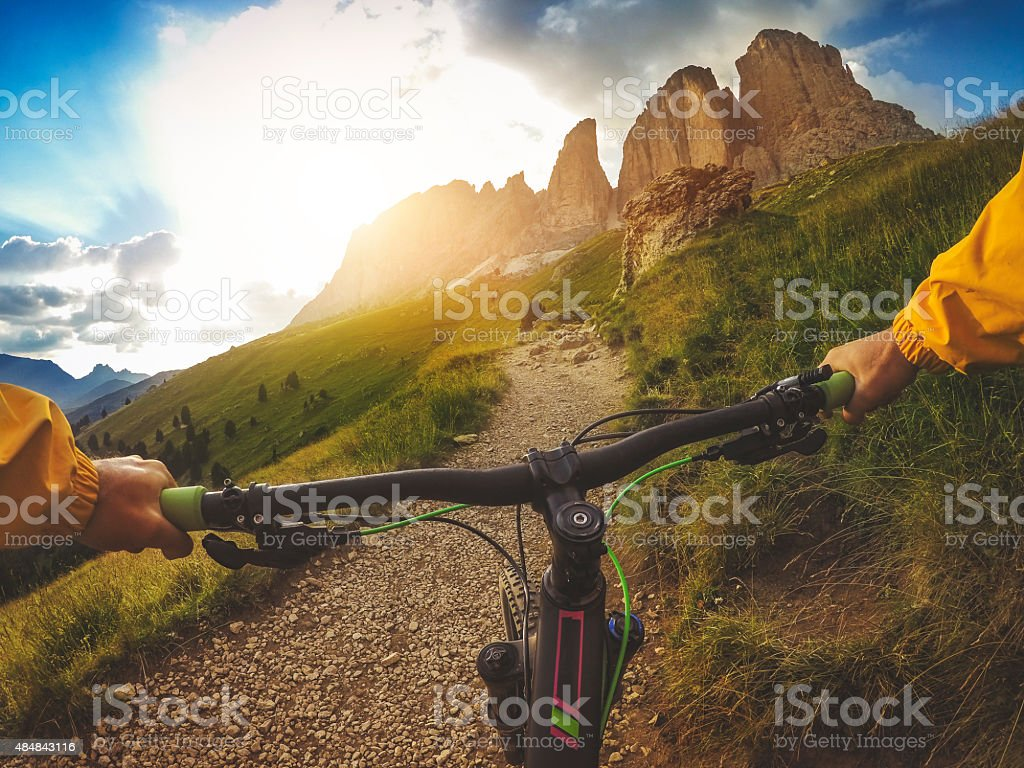 Mountain Bike: Single Trail on the Italian Dolomites stock photo