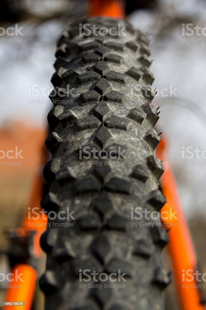 Mountain Bike Tire Close-up stock photo