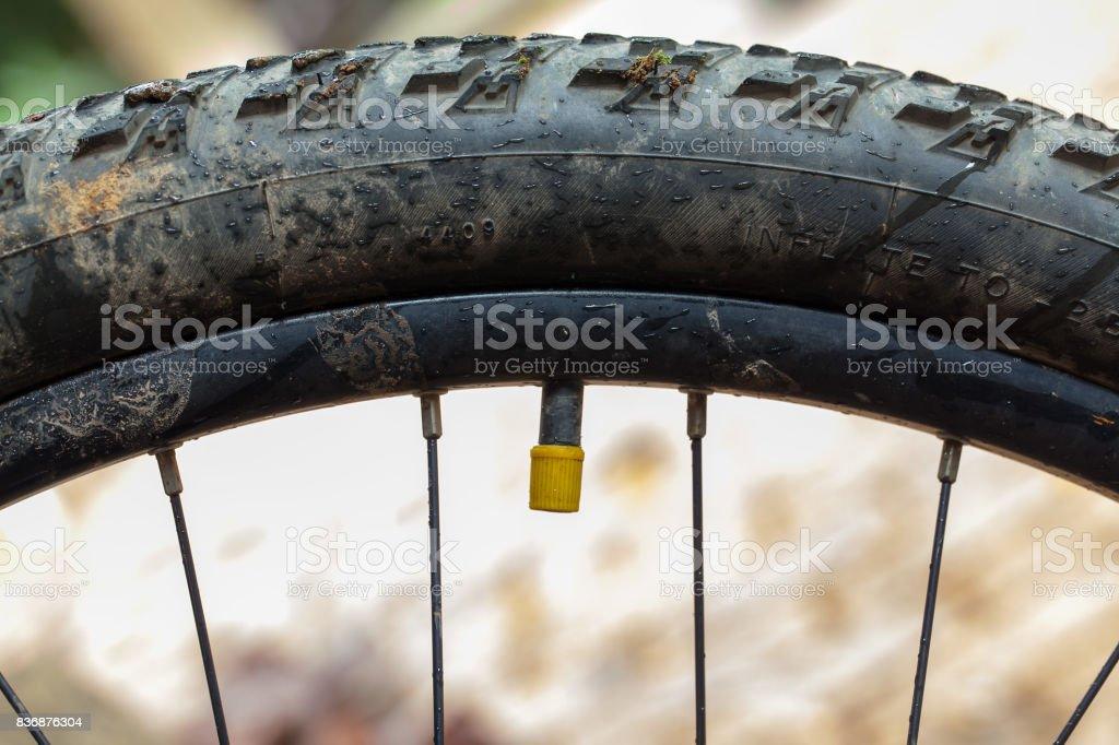 Válvula de bicicleta de montaña con tapa amarilla - foto de stock