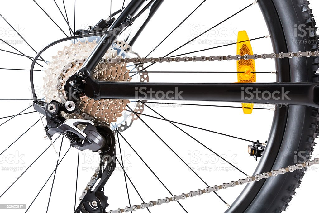 mountain bike wheel closeup royalty-free stock photo