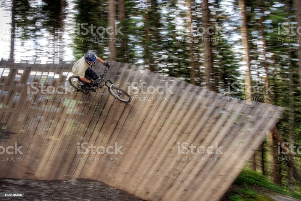 Mountain Biker at Terrain Park royalty-free stock photo